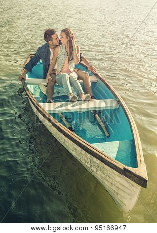 Couple in love on the boat - kissing