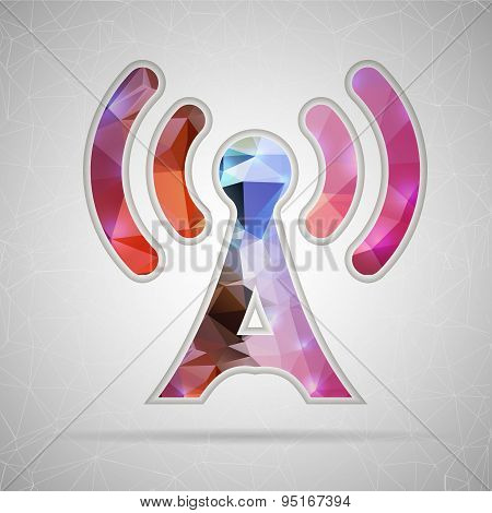 Abstract Creative concept vector icon of TV tower for Web and Mobile Applications isolated on backgr
