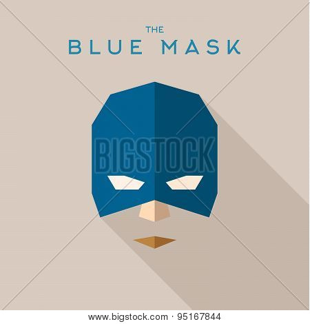 Blue mask, superhero into flat style