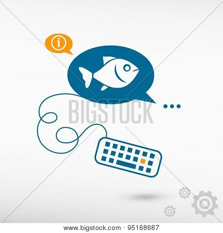 Fish Symbol And Keyboard On Chat Speech Bubbles.