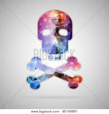 Abstract Creative concept vector icon of skull and crossbones for Web and Mobile Applications isolat