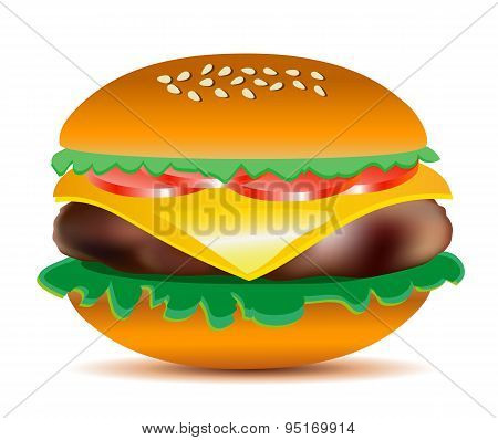 Cheeseburger Vector Illustration.
