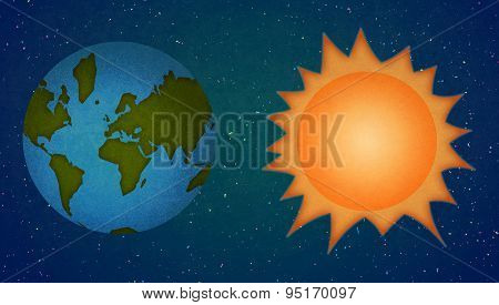 Earth And Sun, Planets Cartoon Style.