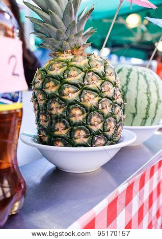 Pineapple And Melon At Night Market