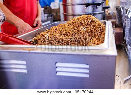 Preparing Fried Noodles At Night Market