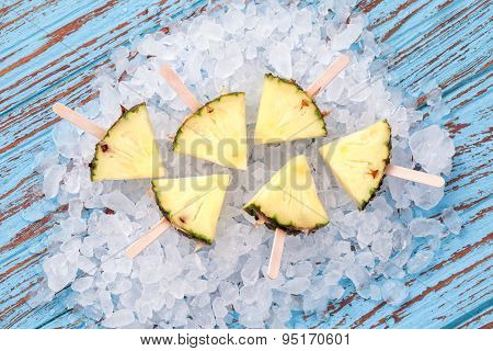 Pineapple Popsicle Yummy Fresh Summer Fruit Sweet Dessert Wood Teak