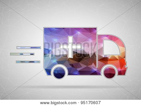 Abstract Creative concept vector icon of ambulance for Web and Mobile Applications isolated on backg