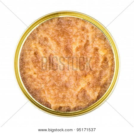 Metal Tin With Salted Pollock Roe Isolated On White