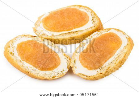 Three Sandwiches With Salted Pollock Roe Isolated On White
