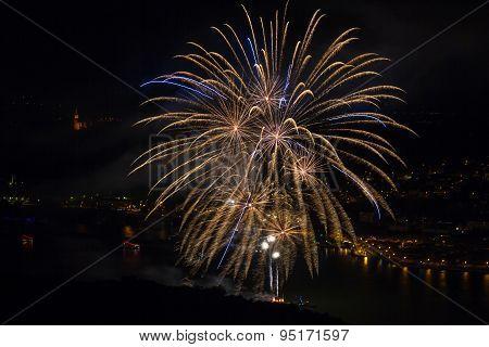 Firework Above The Rhine Valley
