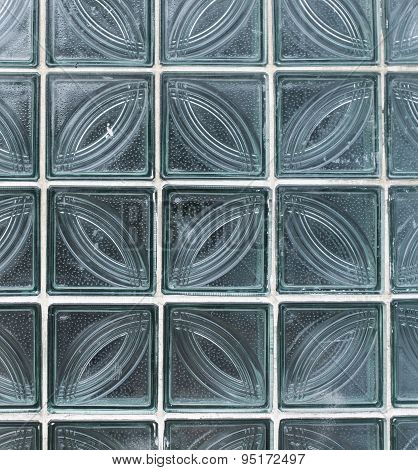 Wall From Glass Transparent Square Blocks