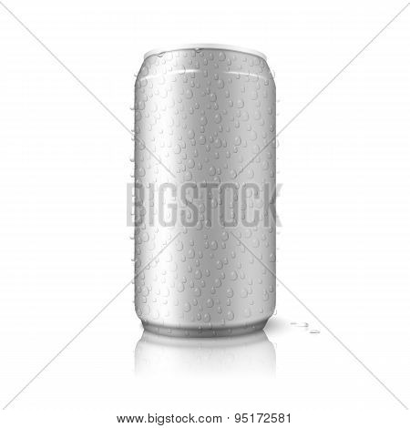 Realistic isolated on white background blank vector aluminium can with condensated water drops.