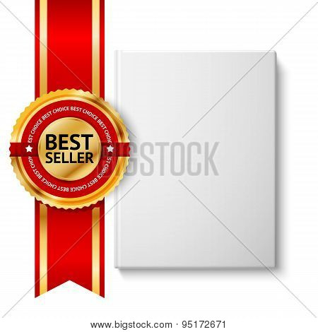 Realistic blank hardcover book, front view with golden and red best seller label. Isolated on white