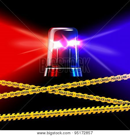Police crime scene yellow tape and red with blue emergency flashing siren. Vector