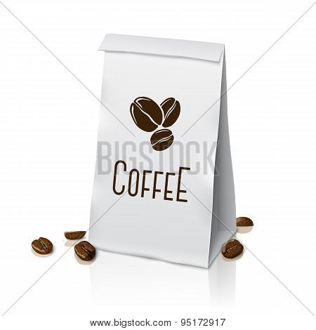 Blank vector realistic paper packaging coffee bag with beans. Isolated on white background