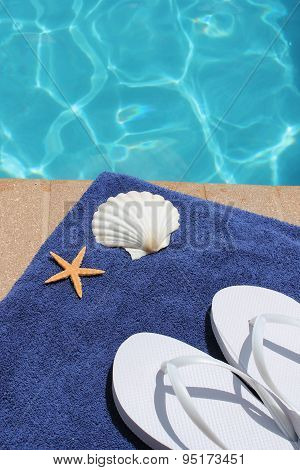 poolside scene towel shell