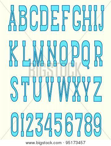 Serif font blue