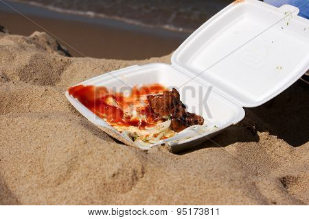 Two Slices Shashlik With Onions And Sauce In A Container On The Sand Outside Closeup