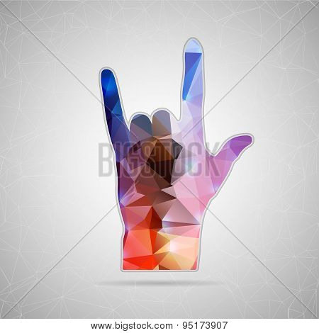 Abstract Creative concept vector icon of hand rock for Web and Mobile Applications isolated on backg