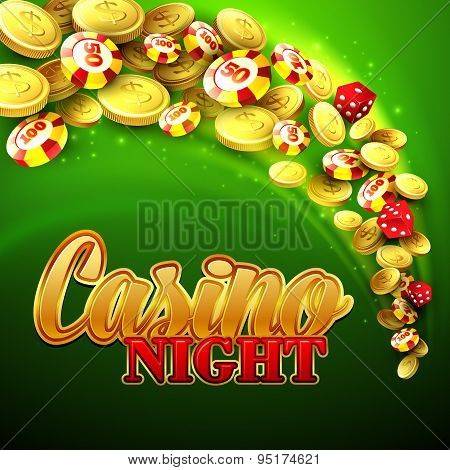 Casino background with chips, craps and money. Vector illustration