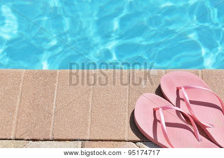 Poolside Holiday Vacation Scenic Flip Flops Thongs
