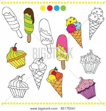 Illustration of colorful or black and white ice cream for coloring book