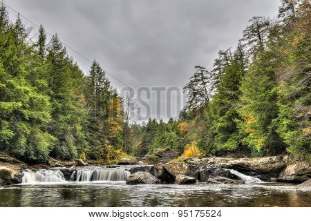 Swallow Falls Waterfall In Appalachian Mountains In Autumn