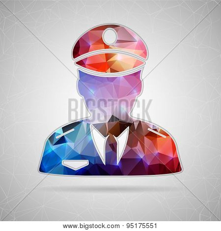 Abstract Creative concept vector icon of police for Web and Mobile Applications isolated on backgrou