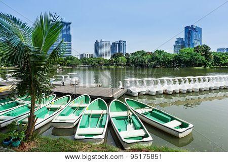 Rowboats In Lumphini Park; Bangkok