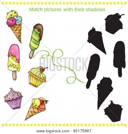 Colorful tasty cartoon ice cream - match the pictures- game for children