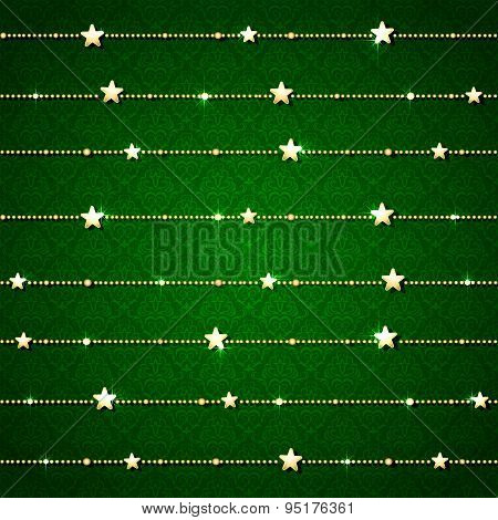 Green Background With Christmas Decoration