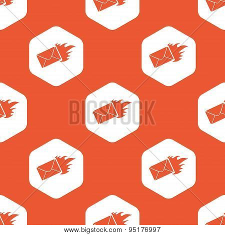 Orange hexagon burning letter pattern