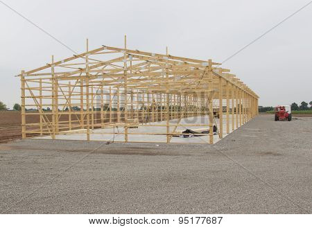 Frame Being Built For Storage Unit Building