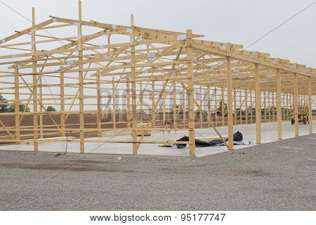 Frame Being Built For Storage Unit Building Lumber