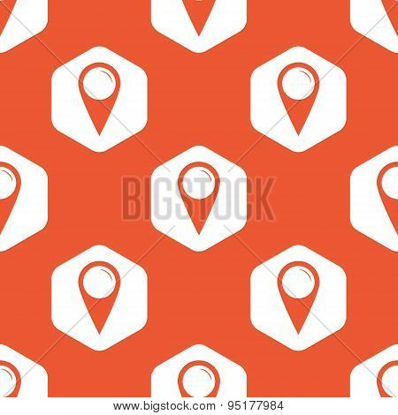 Orange hexagon map marker pattern