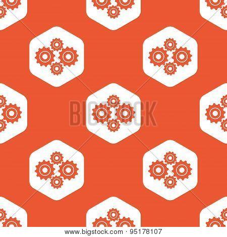 Orange hexagon cogs pattern