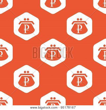 Orange hexagon ruble purse pattern