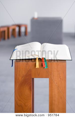 Open Bible On Wooden Console