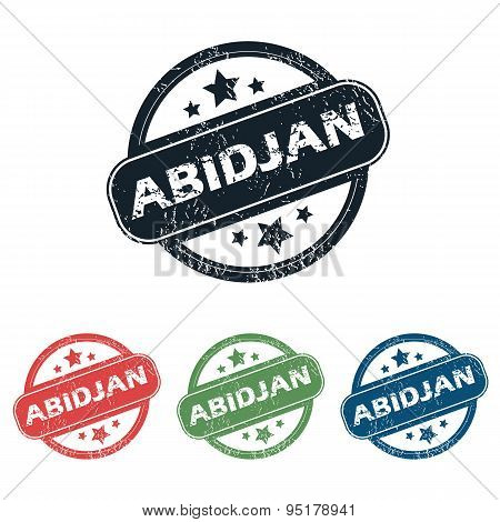 Round Abidjan city stamp set