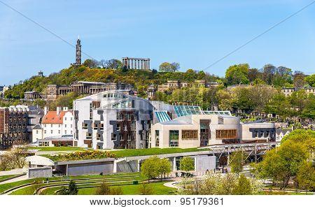 View Of New Parliament House Under Calton Hill - Edinburgh