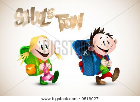 Detailed Illustration of two young happy child going to school