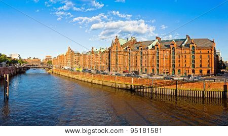 Panoramic View Of Speicherstadt Disctrict In Hamburg, Germany