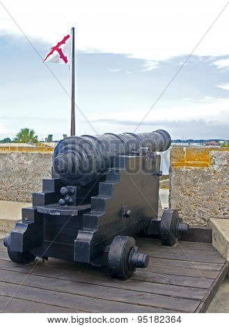 Old cannon aiming at the sea