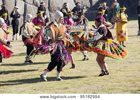 Dancers In Traditional Costumes Inti Raymi 2015 Peru