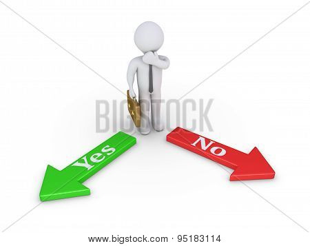 Businessman Between Yes And No