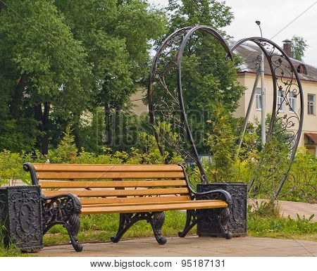 Bench in a city park