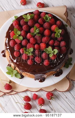 Sponge Cake With Chocolate And Fresh Raspberries Vertical Top View