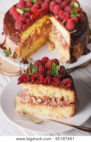 Sliced Raspberry Sponge Cake Close Up On A White Plate. Vertical