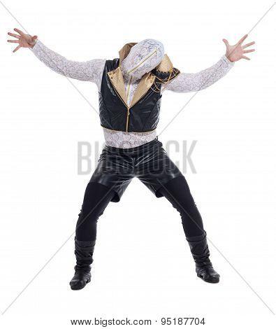 Image of modern dancer posing in strange costume