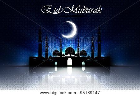 Beautiful religious eid background with mosque